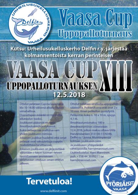 Urheilusukelluskerho Delfin r.y. järjestää perinteisen Vaasa Cup XIII  Uppopalloturnauksen Tervetuloa!