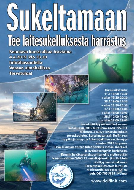 Laitesukelluksen peruskurssi info ja ilmoittautuminen torstaina 4.4.2019 klo18:30 Vaasan uimahallissa
